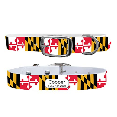 C4 Dog Collars Personalized Waterproof & Guaranteed for Life - for Boy & Girl Dogs Sizes Small - X-Large - Metal Buckle - Maryland Flag Pattern