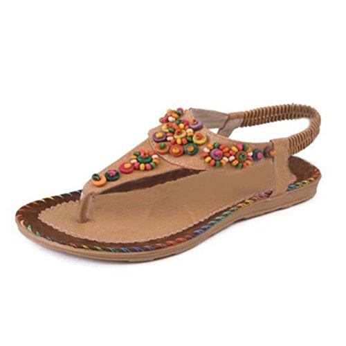 Abuyall Women's Summer Rhinestone Bead Bohemia Folk Round Clip Toe Sandals Boho Beach Flip Flops Flat Elastic T-Strap Post Thong Sandals Shoes Cl2 I32EEVUh
