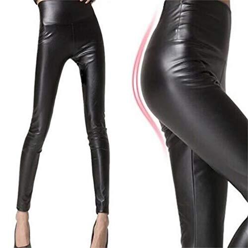 Pantaloni a in Black Pantaloni vita MKILJNH donna sottile a Squisito zampa similpelle alta da ZPwqa06q8