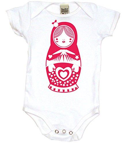 Matryoshka Doll Cute Bodysuit Baby Girl and Baby Boy Clothes, 3-6 MO, White