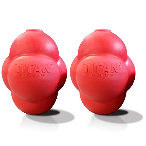 Titan Busy Bounce, Tough Durable Treat Dispensing Dog Toy with Unpredictable Bounce, 2-Pack Large | Made in USA