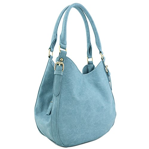 Hobo Light - Light-weight 3 Compartment Faux Leather Medium Hobo Bag Blue-Grey