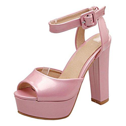RAZAMAZA Mjuer Peep Toe Tac¨®n Ancho Sandalias Plataforma Slingback Zapatos Rosa