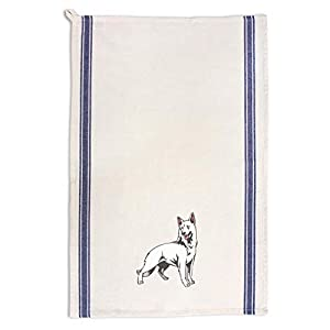 Custom Decor Kitchen Towels White Shepherd Pets Dogs Cleaning Supplies Dish Towels Blue Stripe Design Only 24