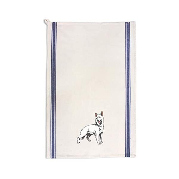 Custom Decor Kitchen Towels White Shepherd Pets Dogs Cleaning Supplies Dish Towels Blue Stripe Design Only 1