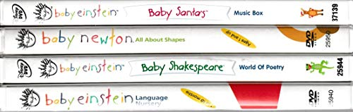 Baby Einstein Gift Pack : Baby Newton , Baby Shakespeare ,Language Nursery , Baby Santa's Music Box : Set of 4 Baby Einstein Dvd's Baby Santas Music Box