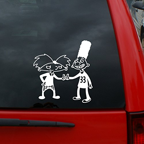 "(Hey Arnold! Arnold and Gerald - 5"" tall Vinyl Decal Window Sticker for Cars, Trucks, Windows, Walls, Laptops, and More.)"