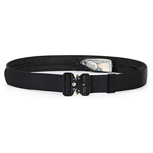 - Men/Women Military Carry Belt With Hidden Zipper Pocket, Fast Release Buckle Belt for Jeans (Fit for Waist 39-46in, 01 Black)