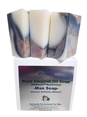 - Pure Coconut Oil Soap for Men (10.5 oz) - Cleanse, Exfoliate, Refresh. Handmade, Vegan, Moisturizing, Activated Charcoal, Pumice and Alkanet Root