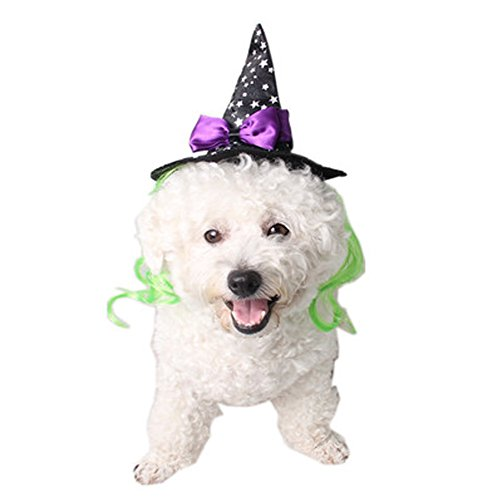 SIMPLESTLIFE Pets Caps Witch Costume Hats Cosplay Dog Cat Puppy Hair Accessories Halloween Magic hat for Halloween Christmas