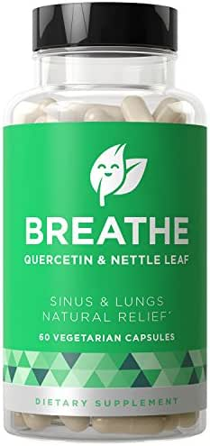 Breathe Sinus & Lungs Breathing - Seasonal Nasal Health, Open and Clear Airways, Bronchial Wellness, Healthy Chest - Quercetin, Nettle Leaf, Bromelain Pills - 60 Vegetarian Soft Capsules