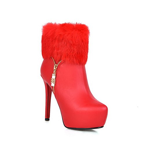 Imitated BalaMasa Fur Stiletto Boots Metal Collar Girls Leather Red Chain qApHqYU