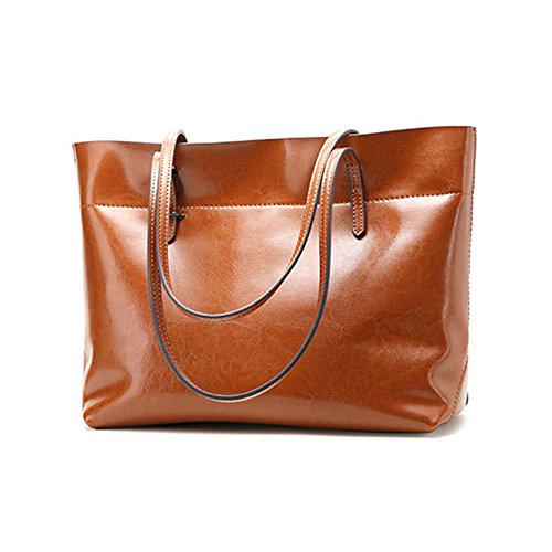 Women Designer Leather Tote Handbag Vintage Casual Satchel Purse Shoulder Bags (Orange)