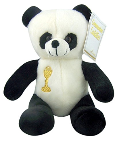 First Communion Plush Panda Bear Stuffed Animal with Embroidered Chalice, 6 Inch