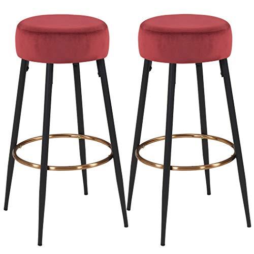 Amazon Com Duhome Set Of 2 Barstools Round Velvet Bar