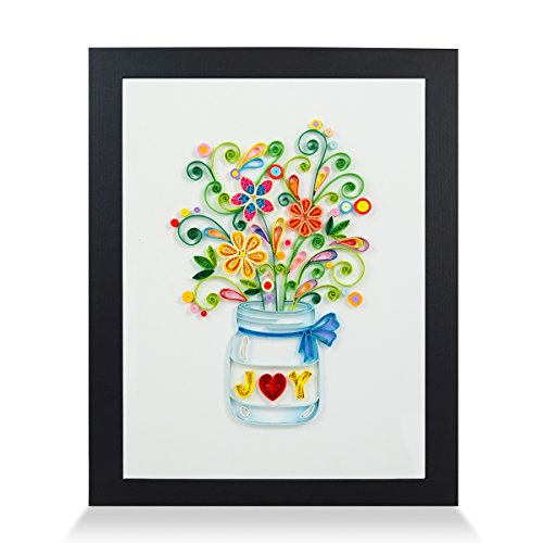 - Joy Handmade Paper Quilling Artwork A4 Size, Framed 3D Wall Art or Stand Art as Unique Gift for Rustic Home Decor Quilled by Canadian Artist