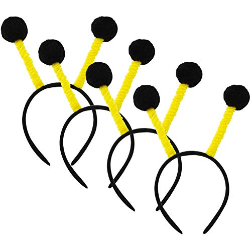 Resinta 4 Pack Pom-Pom Boppers Bee Headband Black and Yellow for Children's Birthday Home Craft Decoration