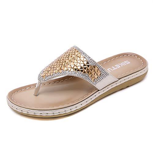 Hee grand Womens Flip Flops Yoga Sling Rhinestones Flat Sandals Comfort Shoes Rhinestone Elastic Rear Thong Flat Dress Sandal for Women Gold 8