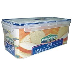 Aristo Houseware No 333 1-Piece Plastic Air Tight Lock and Fresh Dry Food Storage Container, 3800ml (Clear)