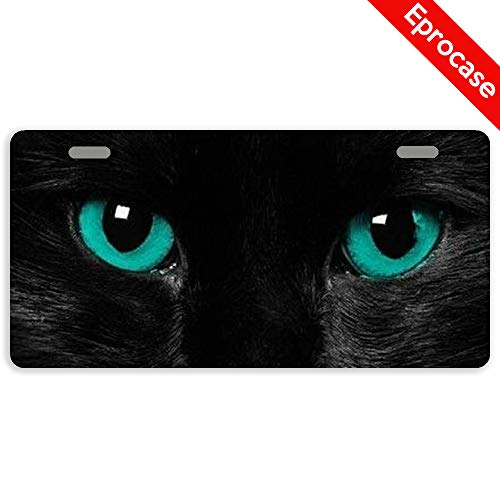 Cat Eye License Plate Frame - Eprocase License Plate Black Cat Eyes License Plate Cover Decorative Car Tag Sign Metal Auto Tag Novelty License Plate 2 Holes (11.8