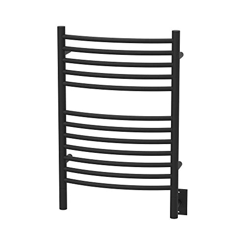 QBC Bundled Amba Heated Towel Warmers - Jeeves - ECMB Model E Curved - Matte Black Finish 20.5 in W x 31 in H - 150 to 175 Watts 1.35 to 1.6 Amps - Plus Free QBC Towel Warmer Guide