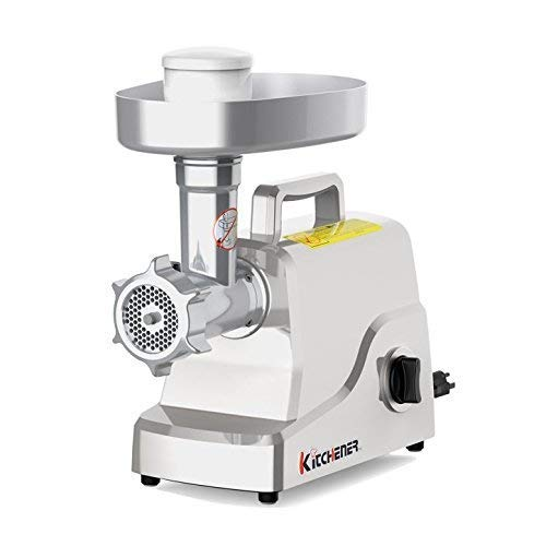 Kitchener Heavy Duty Electric Meat Grinder 2/3 HP (500W), 3-Speed with Stainless Steel Cutting Blade, 2 Stainless Steel Grinding Plates and Stainless Steel Stuffing Plate (Renewed)