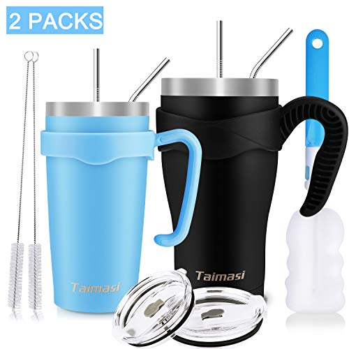 30oz and 20oz Tumbler with Straw, 2 Packs Stainless Steel Insulated Tumblers, Double Wall Vacuum Coffee Travel Mugs Tumblers with 2 Lids, 8 Straws, 2 Handles