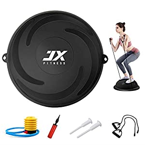 Well-Being-Matters 41Ha-8PWbjL._SS300_ JX FITNESS 58cm Balance Half Ball Trainer, Stability Exercise Yoga Half Ball with Resistance Bands & Pump - Improve Core…