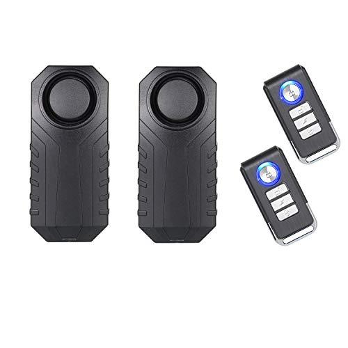 Lancoon Fietsalarm, diefstalbeveiliging voor motorvoertuigen met afstandsbediening, 113 dB Super Loud (2-pack)