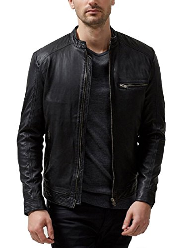 Absolute Leather Men's Sparta Black Classic Genuine Lambskin Leather Jacket 3XL Black