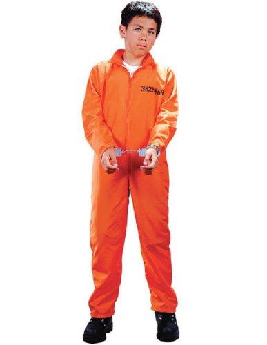 Prisoner Costume Orange (Child Got Busted Prisoner Costume - Medium (8-10))
