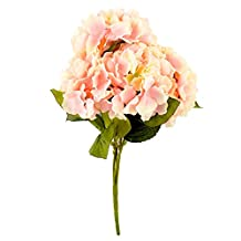 Soledi Artificial Silk Fake 5 Heads Flower Bunch Bouquet Home Hotel Wedding Party Garden Floral Decor Hydrangea (Pink)