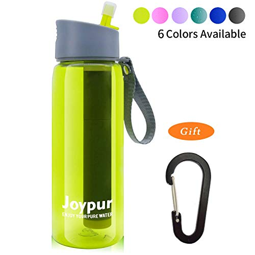 (Joypur Portable Filtered Water Bottle - Emergency Water Purifier with 3-Stage Integrated Filter Straw for Camping Hiking Backpacking)