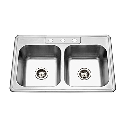 Double Bowl Self Hole Rimming (Houzer 3322-8BS3-1 Glowtone Series Topmount Stainless Steel 3-hole 50/50 Double Bowl Kitchen Sink, 8-Inch Deep)