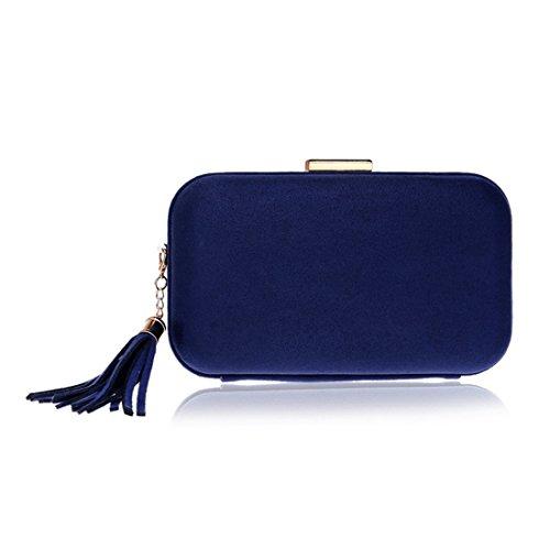 Handbag Evening Clutch Blue Leather Bag Women Dress Purse Shoulder Evening Bag JESSIEKERVIN Tassel wYHUSn8wq