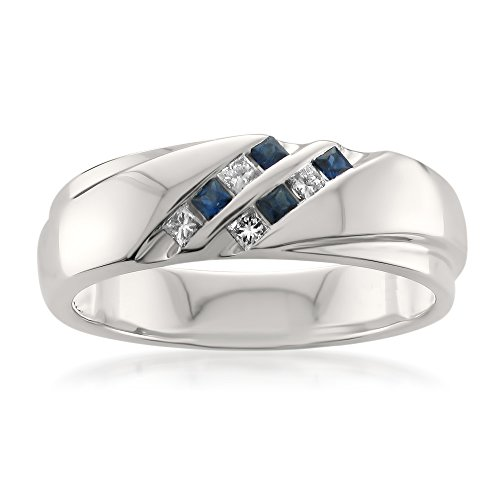 Mens Diamond & Sapphire Ring (14k White Gold Princess-cut Diamond & Blue Sapphire Men's Wedding Band Ring (1/4 cttw, H-I, I1-I2), Size 9)