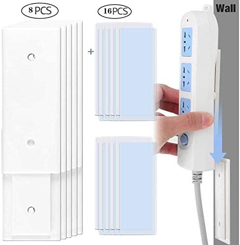 8pcs Self Adhesive Power Strip Wall Mount Holder, Washable &