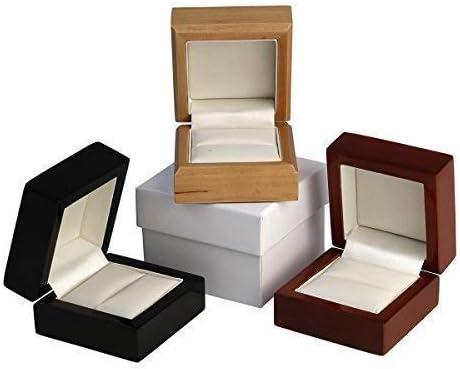Caja de madera de arce o caoba para anillos, madera, negro, Black Wood: Amazon.es: Hogar