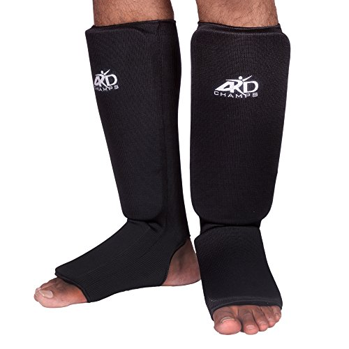 Foot Guard (ARD Shin Instep Protectors, Guards Pads Boxing, MMA, Muay Thai (Black, Large))