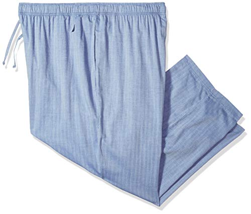 Nautica Men's Tall Soft Woven 100% Cotton Elastic Waistband Sleep Pajama Pant, Cornflower, 3X Big