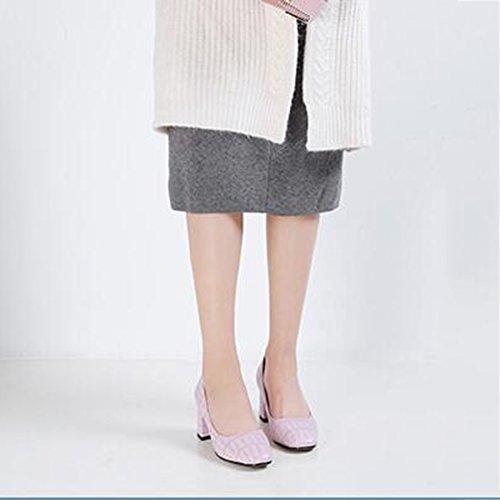 Chaussures femme CJC Chaussures Mode Cuir Pointu Shallow Mouth Épais Talon Sangle Chaussures (Couleur : C, Taille : EU38/UK5.5) C
