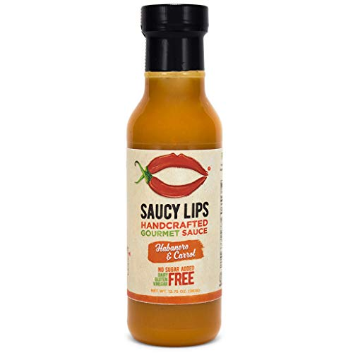 Vegan & Paleo Habanero & Carrot Easy Squeeze Salad Dressing, Topping, and Cooking Sauce by Saucy Lips, Best Tasting, No Sugar Added, Low Carb, Gluten Free, Soy Free, Dairy Free, Nut Free - 12 oz