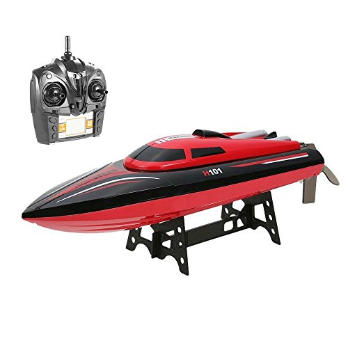 Blexy Remote Control Boats 2.4GHz 4 Channels  RC Electric Racing Boat 30KM/H High Speed Automatically 180 Degree Flipping Transmitter with LCD Screen Red
