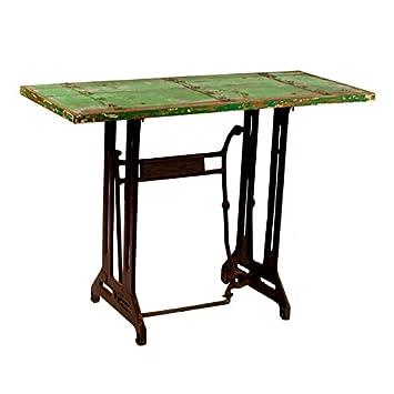 MOAI home & garden Consola KAB pie de máquina de Coser antigüa Color Verde con Adornos