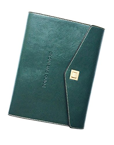ExquisiteGuide Soft Leather Journal Notebook With Rotating Button Lock+ A5 Hardbound Insert Refillable + Loose-leaf Binder | 6.88 ×9.25in (Dark Green) (Dark Green Binders)