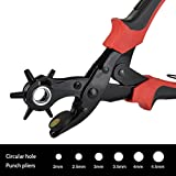 WoneNice Leather Hole Punch Plier Tool-Professional Heavy Duty - Easily Punches Perfect Round Holes in 2, 2.5, 3, 3.5, 4, and 4.5 mm - Multi Sized Puncher Pliers - Ideal for Belts, Crafts, Card, Plastic, Felt, Rubber etc- Quality Assured