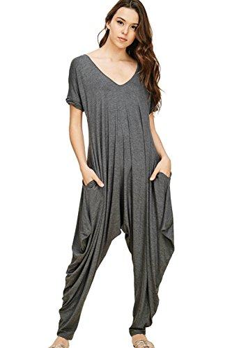 Annabelle Women's Solid Pocketed Short Sleeve Harem Deep V-Neck Jumpsuit Mid Grey Large J8051
