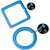 Senzeal 2X Fish Feeding Ring Round and Square Floating Food Feeder Circle with Suction Cup