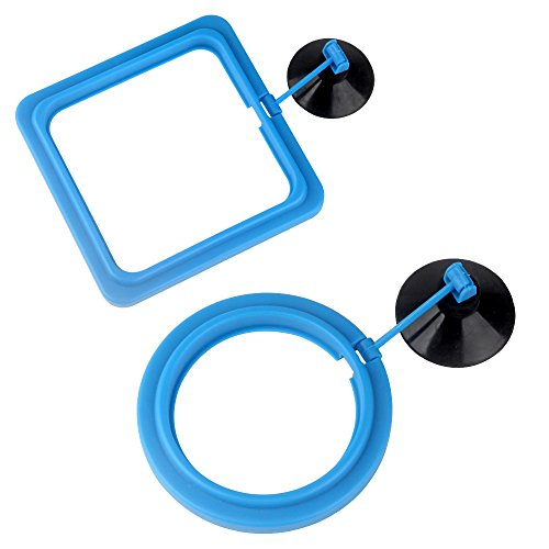 (Senzeal 2X Fish Feeding Ring Round and Square Floating Food Feeder Circle with Suction Cup)