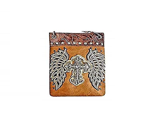 (Fashion Bags for Women - WINGS AND CROSS, Small Crossover Designer Pouch - TAN, 6